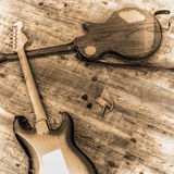 Two electric guitars in sepia tone Stock Photos
