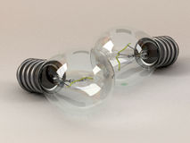 Two electric light bulbs Royalty Free Stock Photography