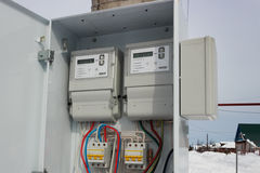 Two electric meter in a  locker Stock Photo