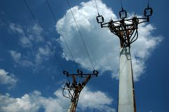 Two electric poles. On sky stock images