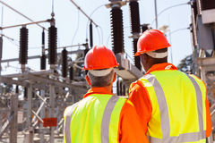 Two electrical engineers stock images