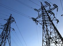 Two electricity pylons Royalty Free Stock Photo