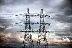 Two electricity pylons Royalty Free Stock Photography