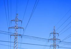 Two electricity pylons Stock Photo