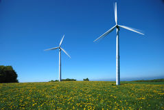 Two electricity windmills Stock Image