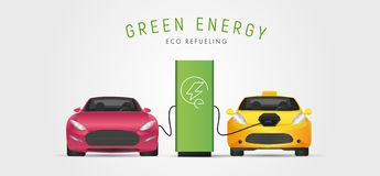Two Electro cars at charging station on white background. Eco transport concept. Illustration vector. Sport and taxi. Electro car at charging station on white vector illustration