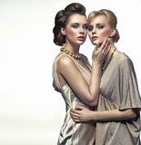 Two elegance ladies hugging. And posing royalty free stock images