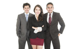 Two elegant businessmen and a businesswoman in Royalty Free Stock Image