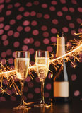 Two elegant champagne glasses royalty free stock images