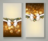 Two elegant Christmas greeting cards with bow and jewelry. Royalty Free Stock Photos