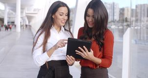 Two Elegant Dressed Business Women Talking. Two Happy  Smiling  Elegant Dressed Business Women Talking With Each Other About Their Project on Tablet Device stock video