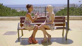 Two elegant female friends enjoy a relaxing chat. Two elegant female friends enjoying a relaxing chat sitting together on an outdoor bench overlooking a city in stock video footage