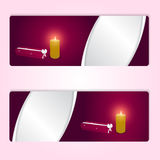 Two elegant festive red horizontal banner with red long boxes and burning candle. Vector Stock Photo