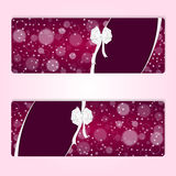 Two elegant festive red horizontal banner with white bow and curved ribbons. Vector Royalty Free Stock Photography