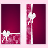 Two elegant festive red vertical banner with white bow and place for text. Vector Royalty Free Stock Photos