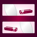 Two elegant gift horizontal pink banner with red long boxes and white bows. Royalty Free Stock Images