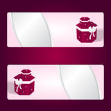 Two elegant gift pink horizontal banner with red boxes and white bows. Stock Image