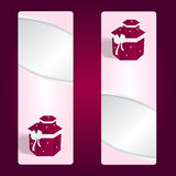Two elegant gift pink vertical banner with red boxes and white bows. Stock Photography