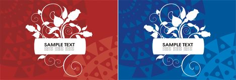 Two elegant labels in red and blue. Vector drawing of two elegany labels decorated with roses Royalty Free Stock Photo
