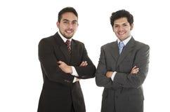 Two elegant men in suits posing Royalty Free Stock Image