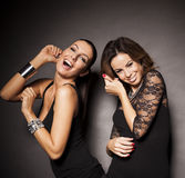 Two elegant party girls Royalty Free Stock Images
