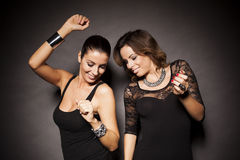 Two elegant party girls Royalty Free Stock Photo