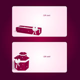 Two elegant pink horizontal gift cards with boxes. Royalty Free Stock Photography