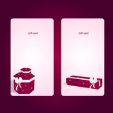 Two elegant pink vertical gift cards with boxes. Royalty Free Stock Image