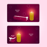 Two elegant red horizontal gift cards with boxes and burning candle. Royalty Free Stock Photo