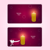 Two elegant red horizontal gift cards with a round box and a burning candle. Royalty Free Stock Photo