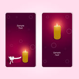 Two elegant red vertical gift cards with a round box and a burning candle. Vector Stock Image