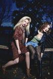Two elegant women stock photos