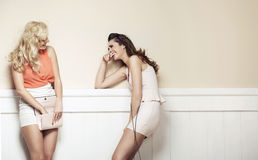 Two elegant young beauties have a nice talk Stock Photo