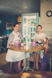 Two elegant young ladies in a cafe.  stock photography