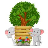 Two elephant in front of an empty wooden signboard Royalty Free Stock Photos