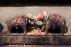 Two elephant idol craved statue Stock Photo