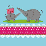 Two elephants design for greeting card stock photos