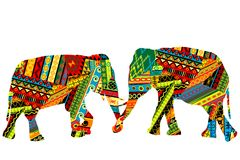 Two elephants in the ethnic motifs pattern. Two elephants in the colorful ethnic motifs pattern Stock Photography