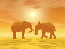 Elephant couple - 3D render. Two elephants face to face by hazy sunset in the desert Royalty Free Stock Photo