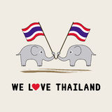 Two elephants hold Thai flag1 Royalty Free Stock Photo