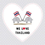 Two elephants hold Thai flag3 Royalty Free Stock Image
