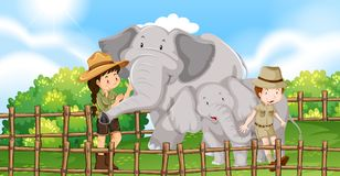 Two elephants and kids in the zoo. Illustration royalty free illustration