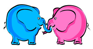 Two Elephants in love. Cartoon Royalty Free Stock Photo