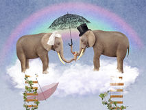 Two elephants in love with umbrellas. Illustration for a card or book cover or magazine. Computer graphics royalty free illustration