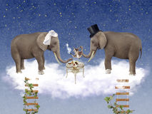 Two elephants in love at wedding ceremony. Illustration royalty free illustration