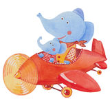 Two elephants in the red airplane Stock Photography