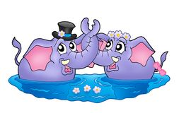 Two elephants in water. Color illustration of two elephants in water. Like bride and groom stock illustration
