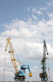 Two elevating cranes Stock Photo