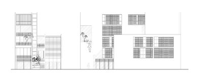 Two Elevations of a Modern Architectural Design. Front and side elevation of a simple and modern architectural design drawn by autocad program and available as Royalty Free Stock Image
