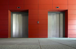 Two elevator doors royalty free stock images